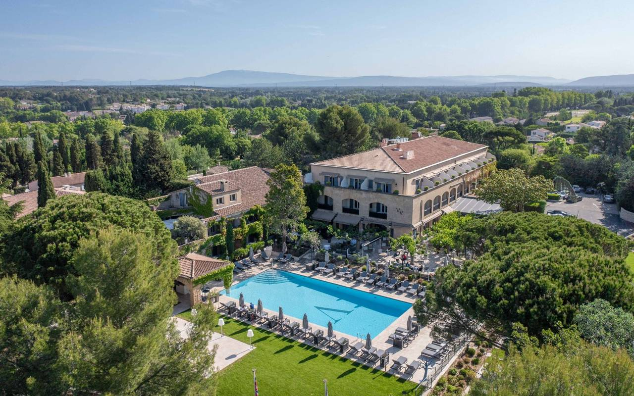 Aerial view of Vallon de Valrugues, 5-star luxury spa hotel in Provence